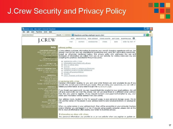 J. Crew Security and Privacy Policy 17