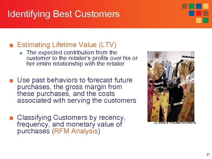 Identifying Best Customers ■ Estimating Lifetime Value (LTV) n The expected contribution from the