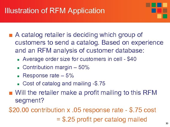 Illustration of RFM Application ■ A catalog retailer is deciding which group of customers