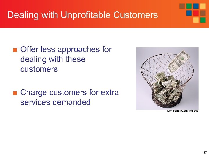 Dealing with Unprofitable Customers ■ Offer less approaches for dealing with these customers ■