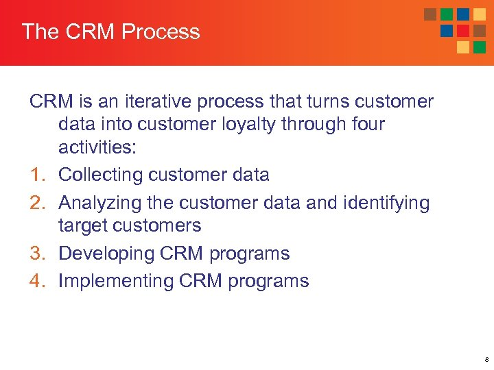 The CRM Process CRM is an iterative process that turns customer data into customer
