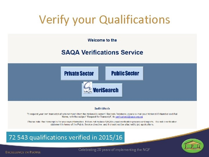 Verify your Qualifications 72 543 qualifications verified in 2015/16 Celebrating 20 years of implementing