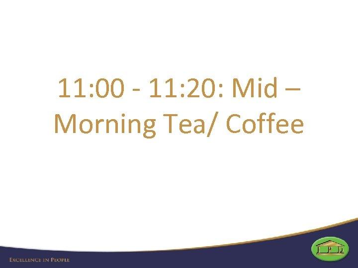 11: 00 - 11: 20: Mid – Morning Tea/ Coffee