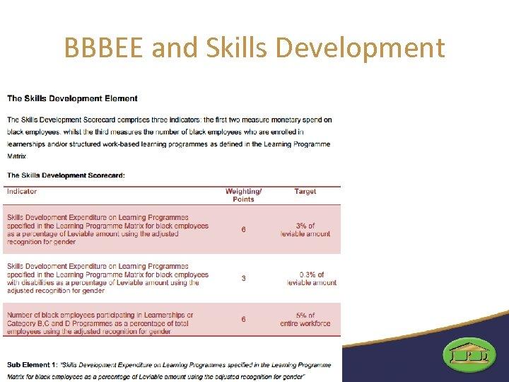 BBBEE and Skills Development