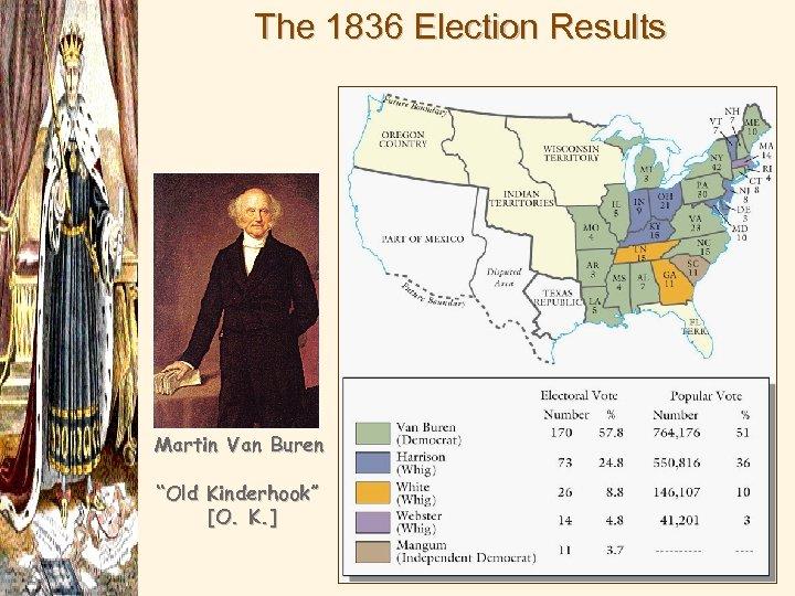 """The 1836 Election Results Martin Van Buren """"Old Kinderhook"""" [O. K. ]"""