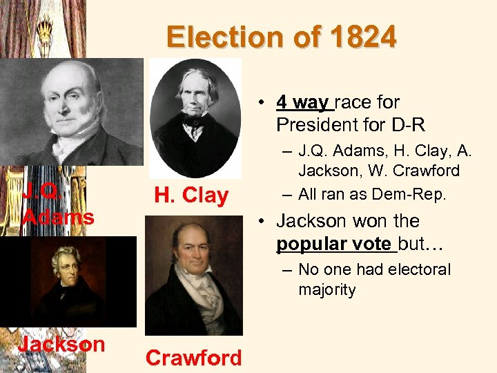 Election of 1824 • 4 way race for President for D-R J. Q. Adams