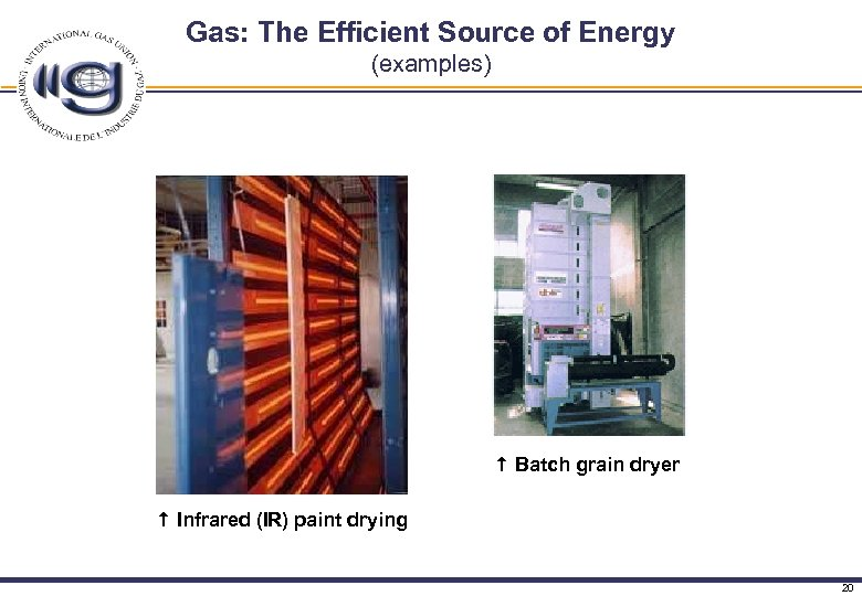 Gas: The Efficient Source of Energy (examples) Batch grain dryer Infrared (IR) paint drying