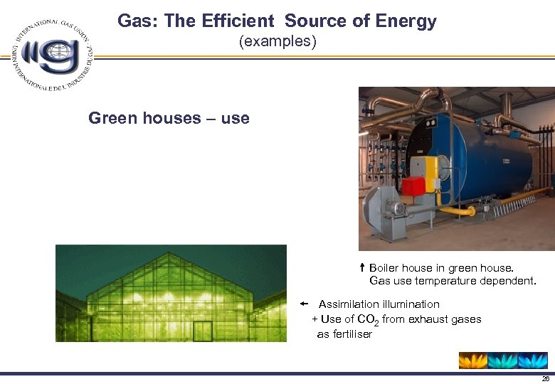 Gas: The Efficient Source of Energy (examples) Green houses – use Boiler house in