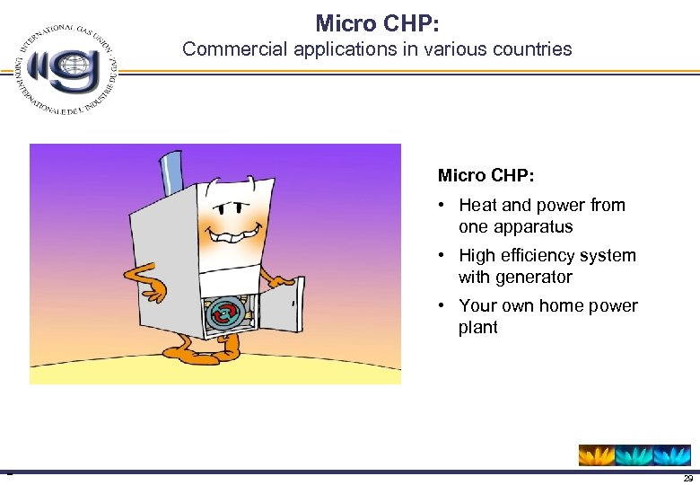 Micro CHP: Commercial applications in various countries Micro CHP: • Heat and power from