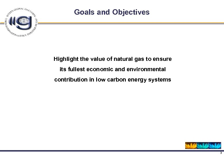 Goals and Objectives Highlight the value of natural gas to ensure its fullest economic