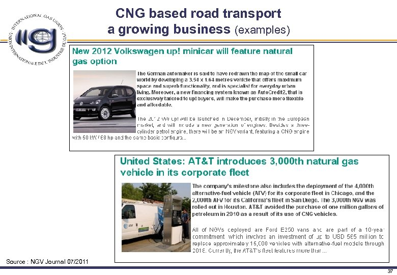 CNG based road transport a growing business (examples) Source : NGV Journal 07/2011 37