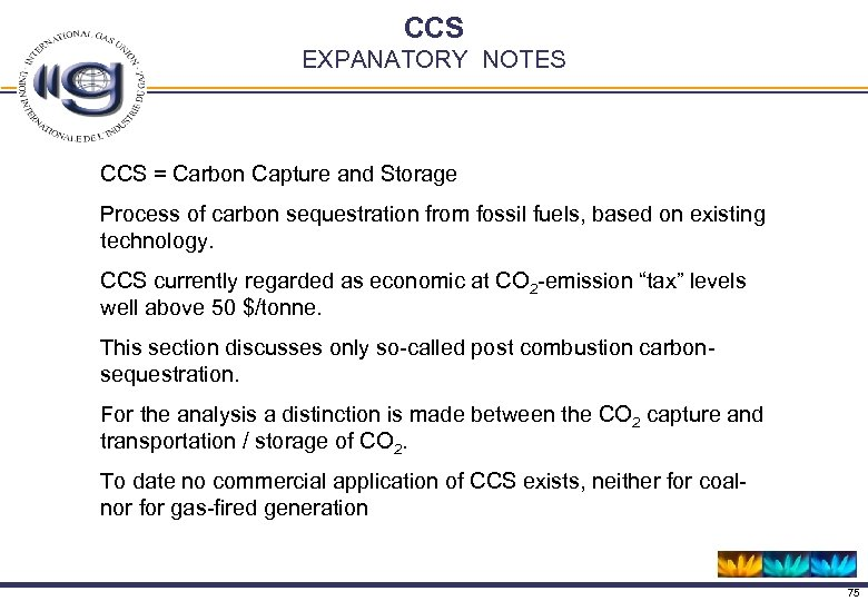 CCS EXPANATORY NOTES CCS = Carbon Capture and Storage Process of carbon sequestration from