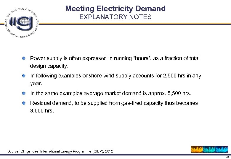 "Meeting Electricity Demand EXPLANATORY NOTES Power supply is often expressed in running ""hours"", as"