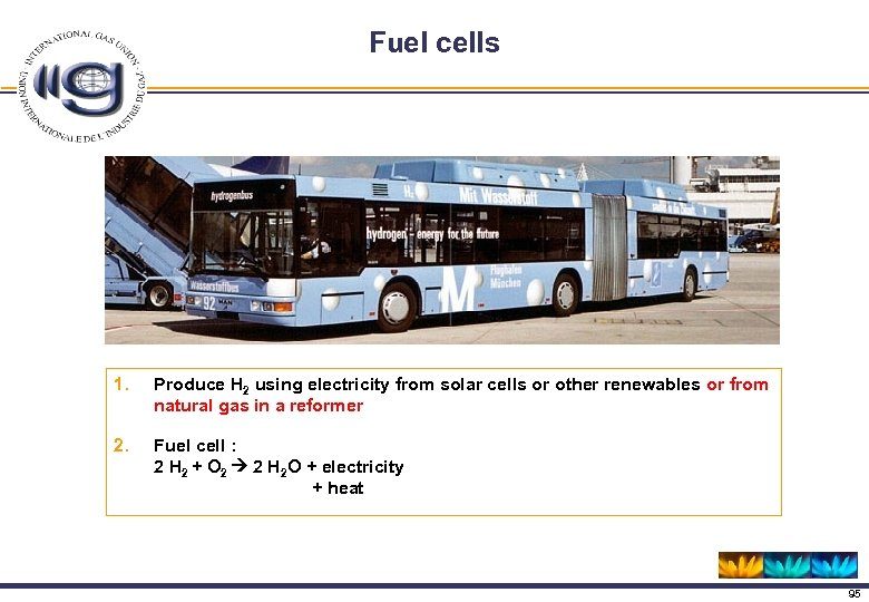 Fuel cells 1. Produce H 2 using electricity from solar cells or other renewables