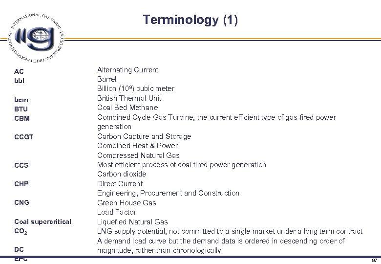 Terminology (1) AC bbl bcm BTU CBM CCGT CCS CHP CNG Coal supercritical CO
