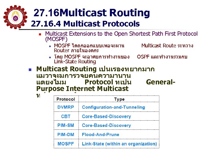 27. 16 Multicast Routing 27. 16. 4 Multicast Protocols n Multicast Extensions to the