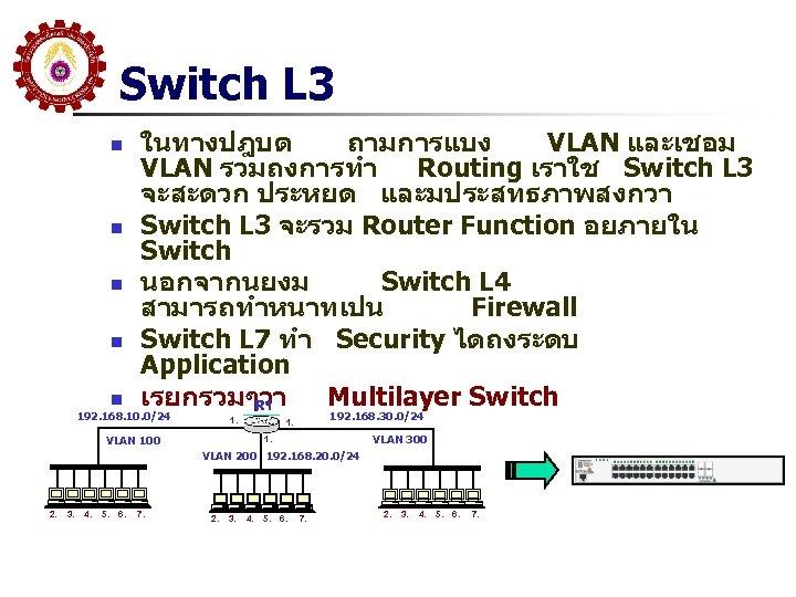 Switch L 3 n n n ในทางปฎบต ถามการแบง VLAN และเชอม VLAN รวมถงการทำ Routing เราใช
