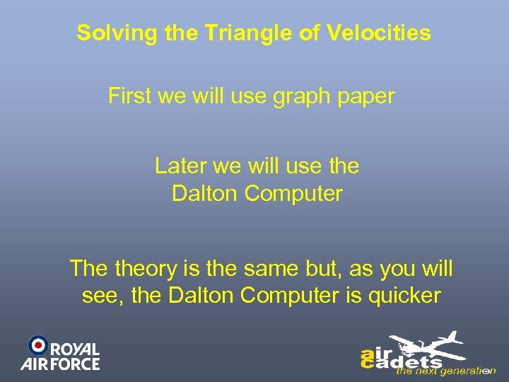 Solving the Triangle of Velocities First we will use graph paper Later we will
