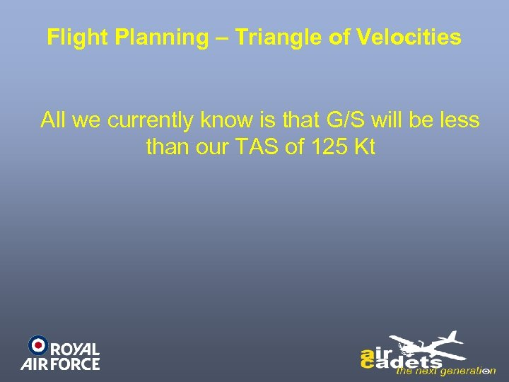 Flight Planning – Triangle of Velocities All we currently know is that G/S will
