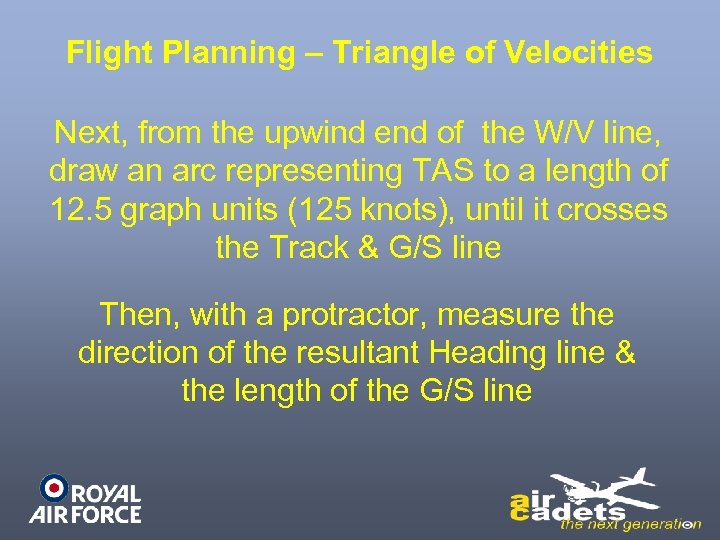 Flight Planning – Triangle of Velocities Next, from the upwind end of the W/V
