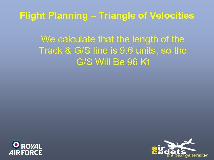 Flight Planning – Triangle of Velocities We calculate that the length of the Track