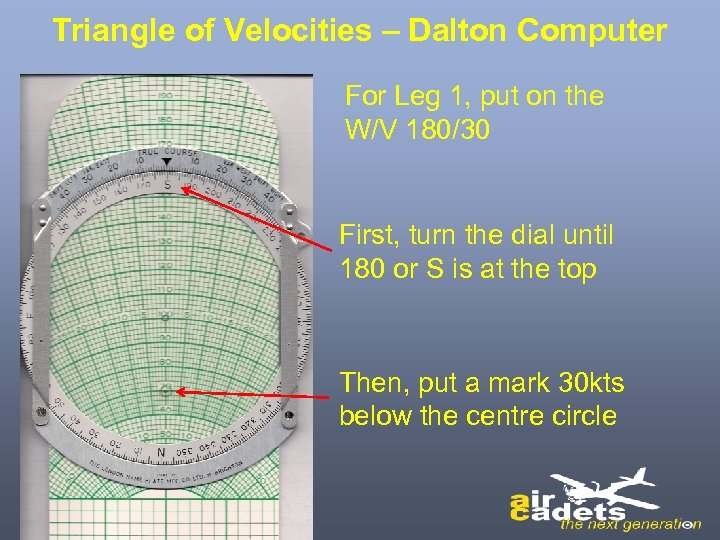 Triangle of Velocities – Dalton Computer For Leg 1, put on the W/V 180/30