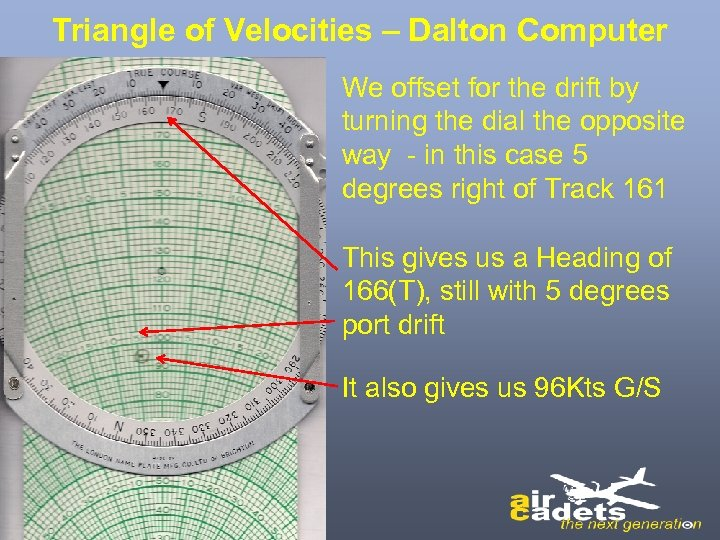 Triangle of Velocities – Dalton Computer We offset for the drift by turning the