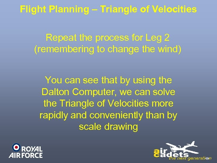 Flight Planning – Triangle of Velocities Repeat the process for Leg 2 (remembering to