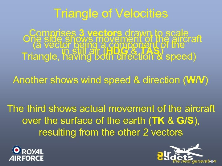 Triangle of Velocities Comprises 3 vectors drawn to scale One side shows movement of