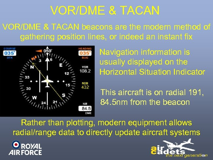 VOR/DME & TACAN beacons are the modern method of gathering position lines, or indeed