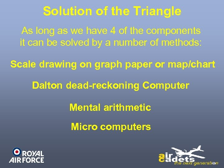 Solution of the Triangle As long as we have 4 of the components it