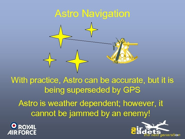 Astro Navigation With practice, Astro can be accurate, but it is being superseded by