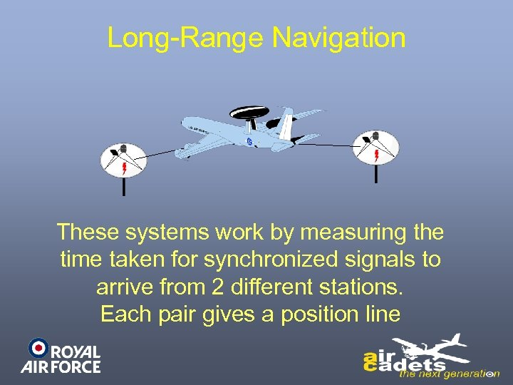Long-Range Navigation These systems work by measuring the time taken for synchronized signals to