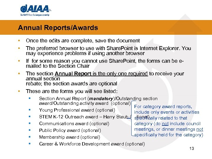 Annual Reports/Awards • • • Once the edits are complete, save the document The