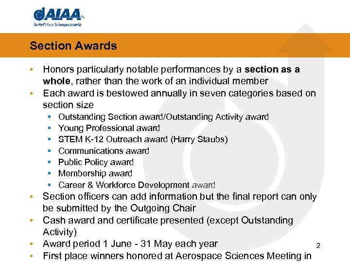 Section Awards • Honors particularly notable performances by a section as a whole, rather