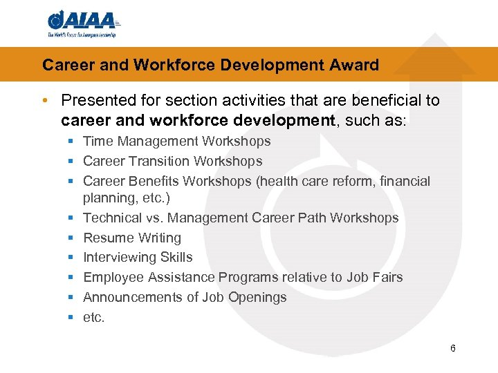Career and Workforce Development Award • Presented for section activities that are beneficial to