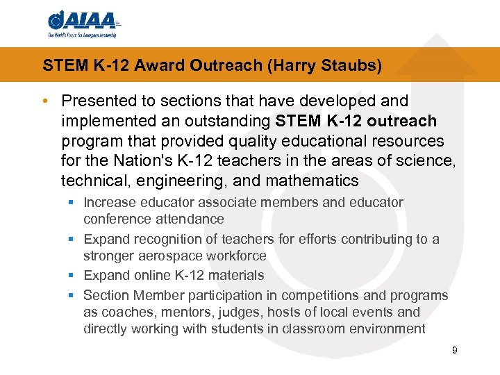 STEM K-12 Award Outreach (Harry Staubs) • Presented to sections that have developed and