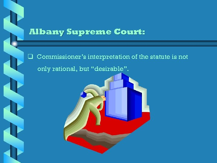 Albany Supreme Court: q Commissioner's interpretation of the statute is not only rational, but