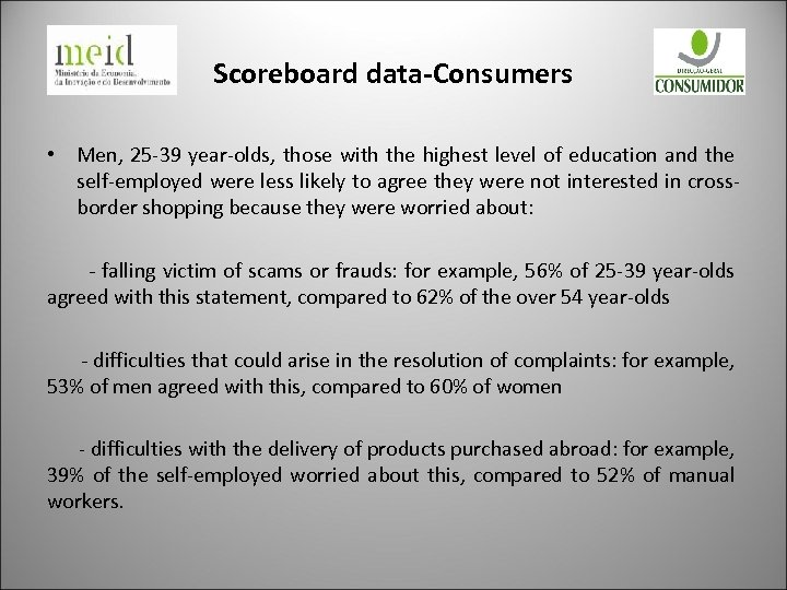 Scoreboard data-Consumers • Men, 25 -39 year-olds, those with the highest level of education