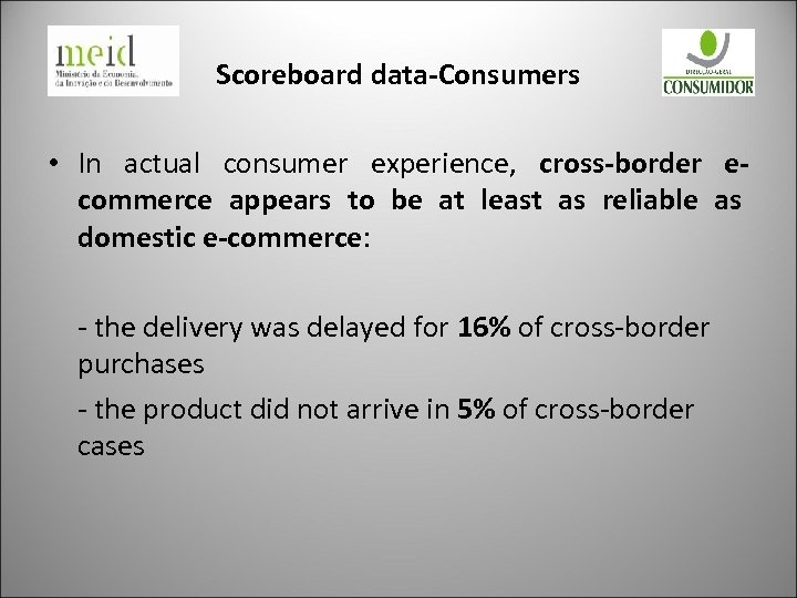 Scoreboard data-Consumers • In actual consumer experience, cross-border ecommerce appears to be at least