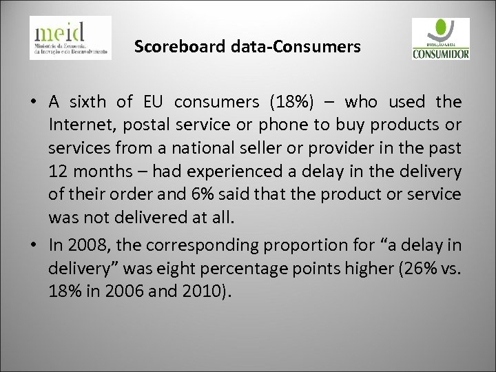 Scoreboard data-Consumers • A sixth of EU consumers (18%) – who used the Internet,