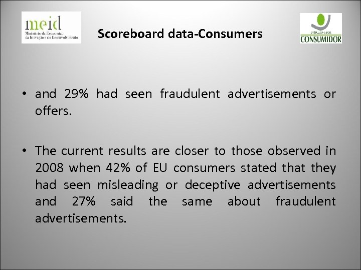 Scoreboard data-Consumers • and 29% had seen fraudulent advertisements or offers. • The current