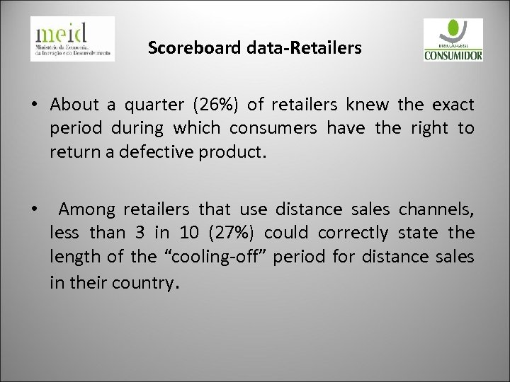 Scoreboard data-Retailers • About a quarter (26%) of retailers knew the exact period during