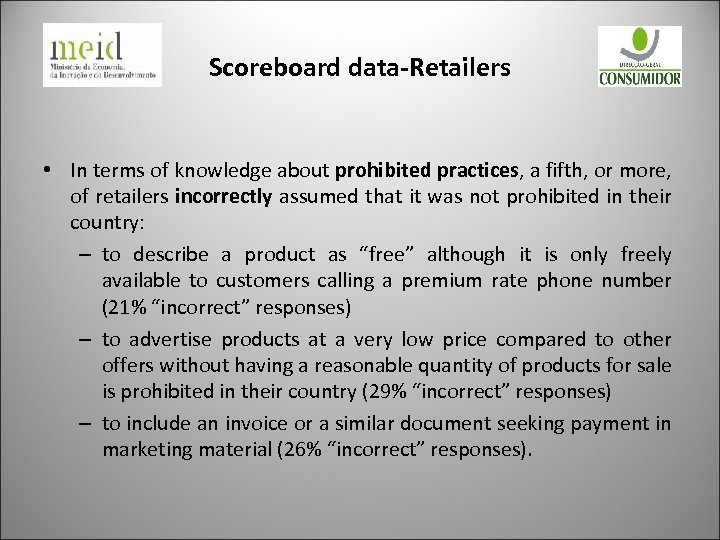 Scoreboard data-Retailers • In terms of knowledge about prohibited practices, a fifth, or more,