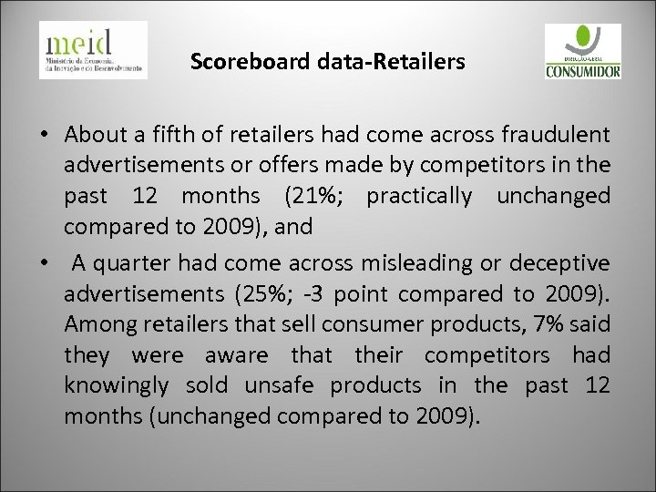Scoreboard data-Retailers • About a fifth of retailers had come across fraudulent advertisements or