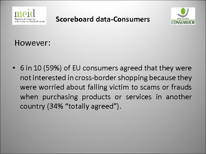 Scoreboard data-Consumers However: • 6 in 10 (59%) of EU consumers agreed that they