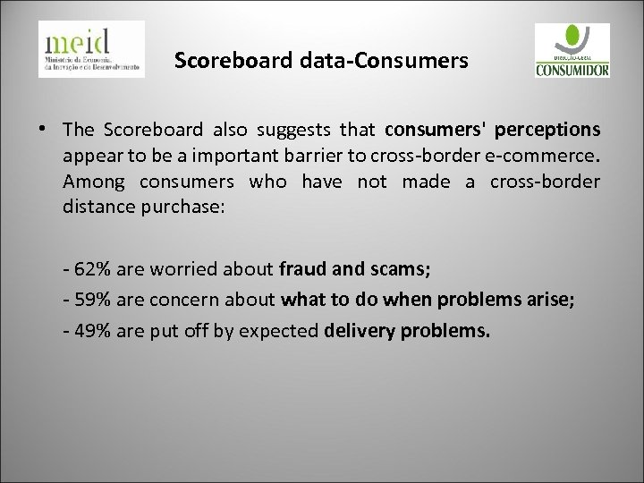 Scoreboard data-Consumers • The Scoreboard also suggests that consumers' perceptions appear to be a