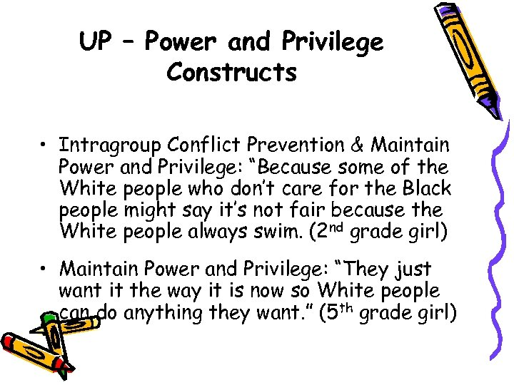UP – Power and Privilege Constructs • Intragroup Conflict Prevention & Maintain Power and