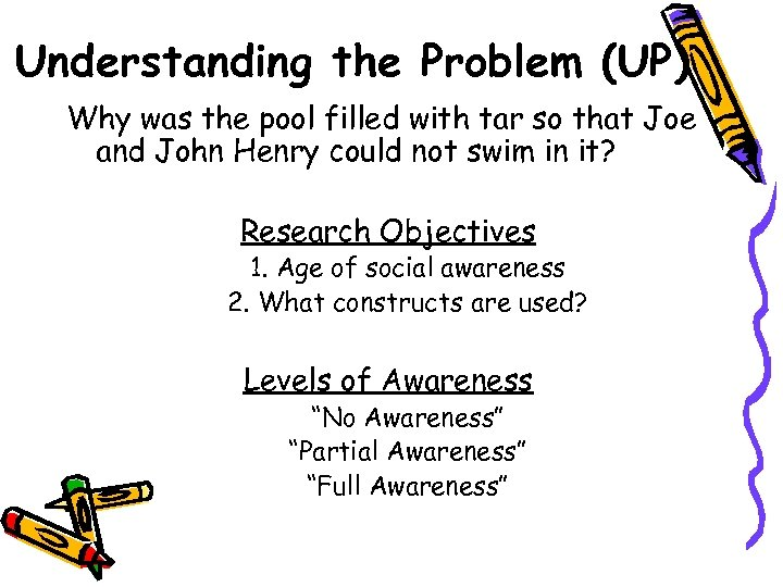 Understanding the Problem (UP) Why was the pool filled with tar so that Joe