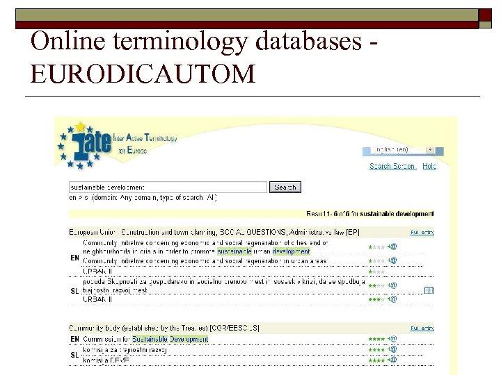 Online terminology databases EURODICAUTOM